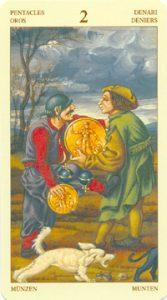 Таро Брейгеля 2 Монет (пентаклей)