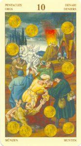 Таро Брейгеля 10 Монет (пентаклей)