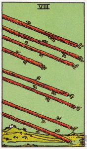 Трактовка карты Таро 8 Жезлов