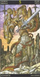 Таро Царство Фэнтези карта 5 Мечей
