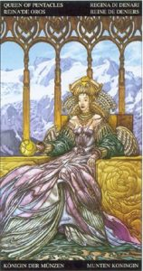 Таро Царство Фэнтези карта Королева Пентаклей