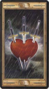 Таро Универсальный Ключ Изображение аркана 3 Мечей