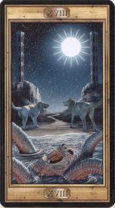 Таро Универсальный Ключ Изображение Старшего Аркана 18 Луна