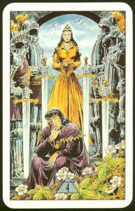 Таро Зеркало Судьбы изображение аркана 4 Мечей