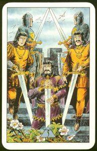 Таро Зеркало Судьбы изображение аркана 5 Мечей