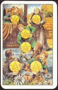 Таро Зеркало Судьбы изображение аркана 6 Пентаклей