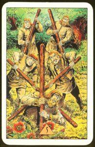 Таро Зеркало Судьбы изображение аркана 5 Жезлов