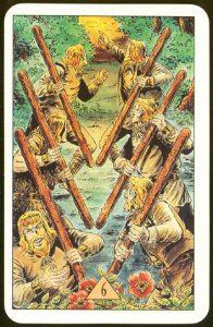 Таро Зеркало Судьбы изображение аркана 6 Жезлов