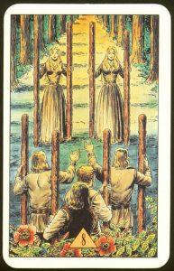 Таро Зеркало Судьбы изображение аркана 8 Жезлов